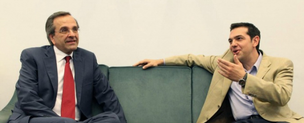 I due contendenti: Samaras e Tsipras