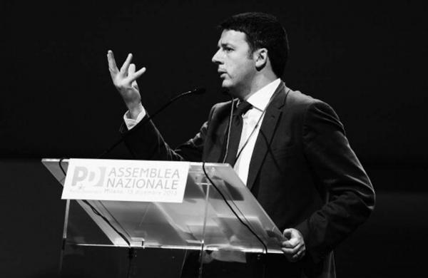 Il premier durante un'assemblea del Pd