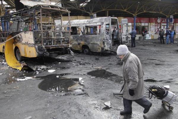 Case distrutte a Donetsk
