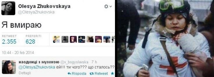 Il tweet di Olesya Zhukovskaya, 21 anni, vittima della strage di Kiev.