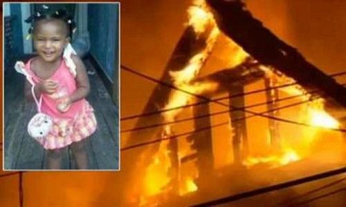 L'abitazione in fiamme e la piccola vittima, 2 anni