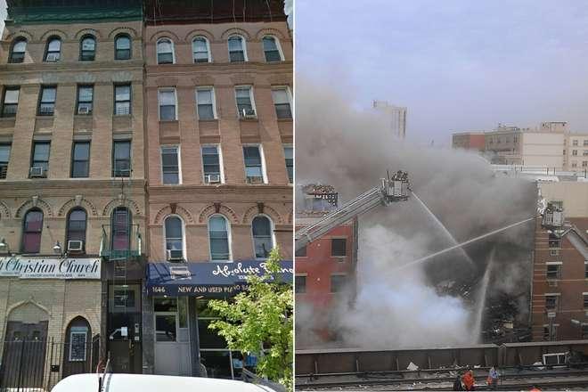 Il palazzo crollato a Manhattan, prima e dopo l' esplosione