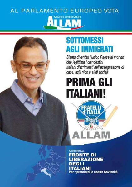 """Il manifesto elettorale """"incriminato"""" di Magdi Cristiano Allam"""