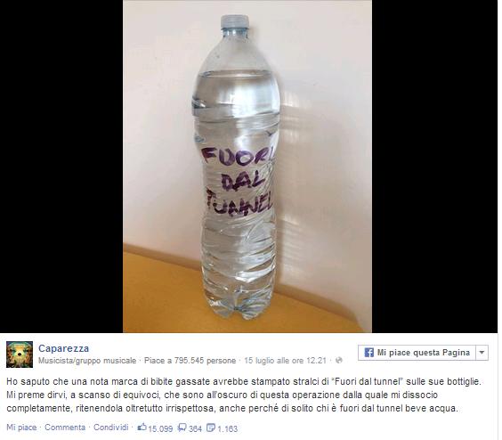 """Il post """"provocatorio"""" pubblicato da Caparezza su Facebook"""