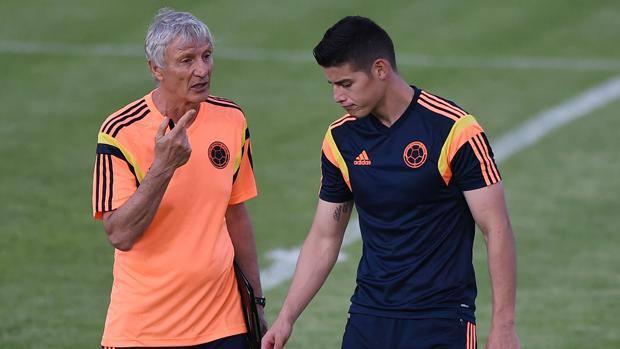 Il CT della Colombia Jose Pekerman con la stella James Rodriguez
