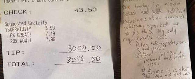 Mancia di 3000 dollari a cameriera