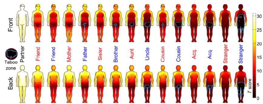 Mappa del contatto fisico in base alla persona