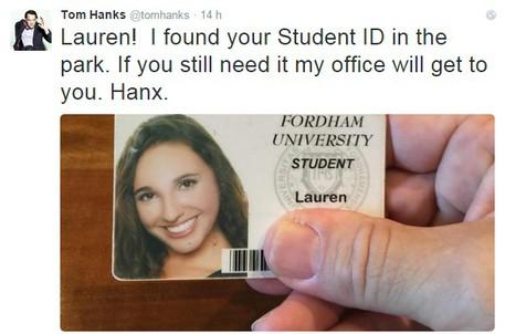 Tom Hanks trova tessera studentessa