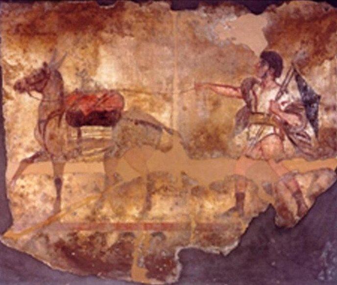Eroe raffigurato sulla tomba ritrovata a Paestum