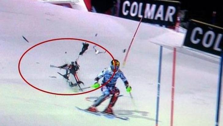 Drone precipita sulla pista da sci