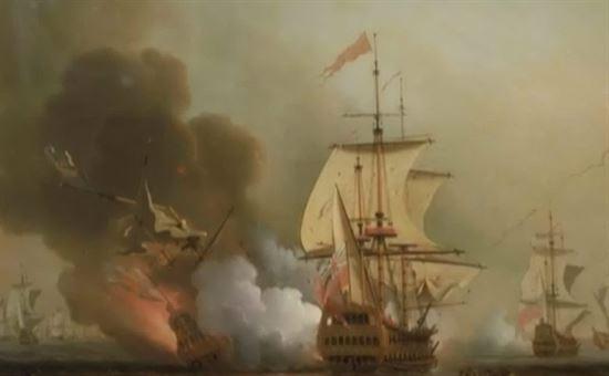 Disegno storico dell'affondamento del galeone