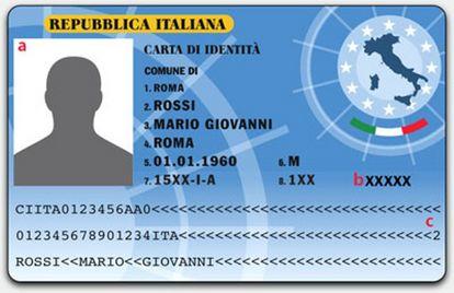 Esempio della carta d'identità elettronica
