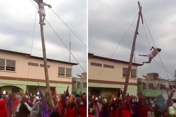 """""""Gesù"""" cade dalla croce e precipita tra la folla"""