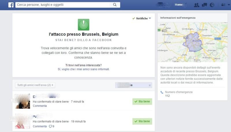 Facebook attiva Safety Check dopo l'attacco a Bruxelles