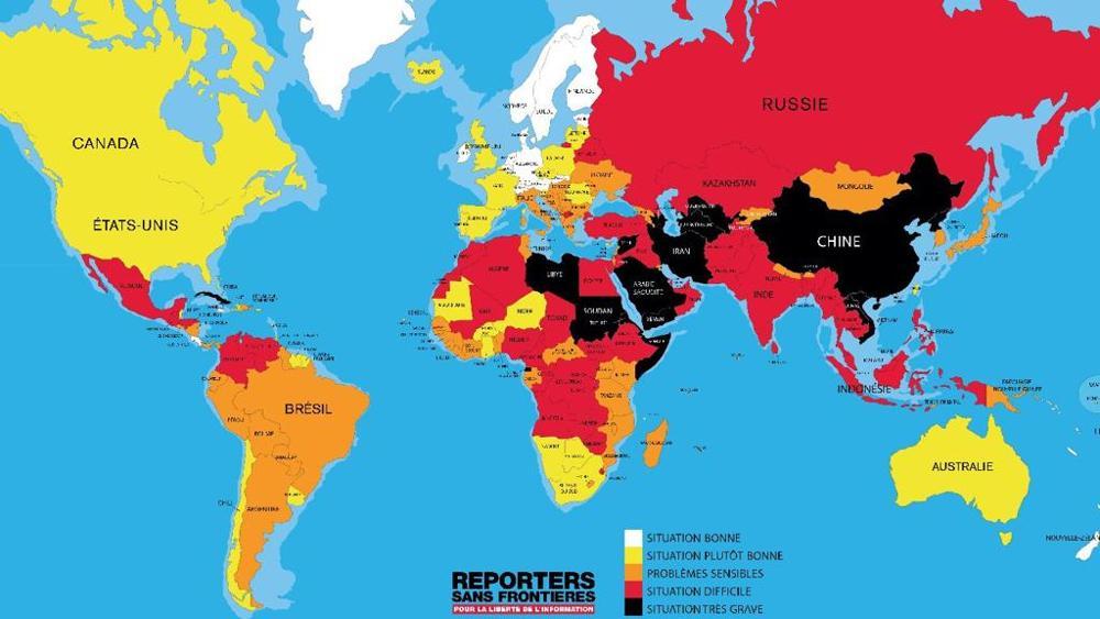 Mappa delle statistiche di Rsf sulla libertà di stampa