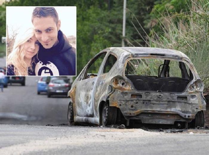 Femminicidio: Sara Di Pietrantonio con il fidanzato. A destra l'auto carbonizzata della vittima
