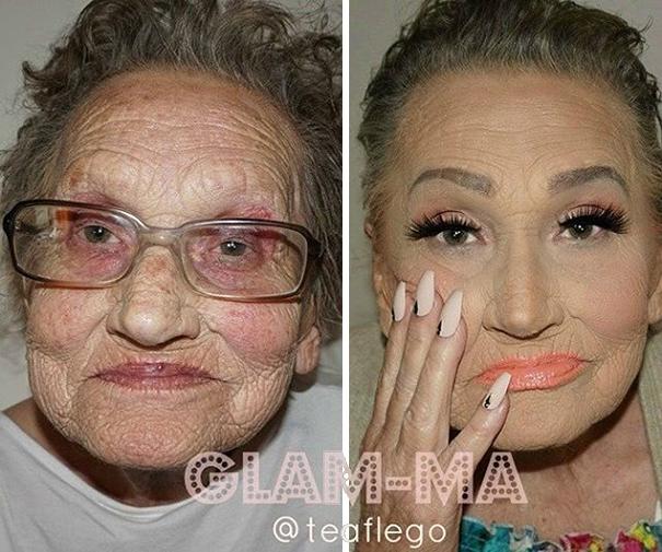Trucca la nonna 80enne: il risultato è sorprendente