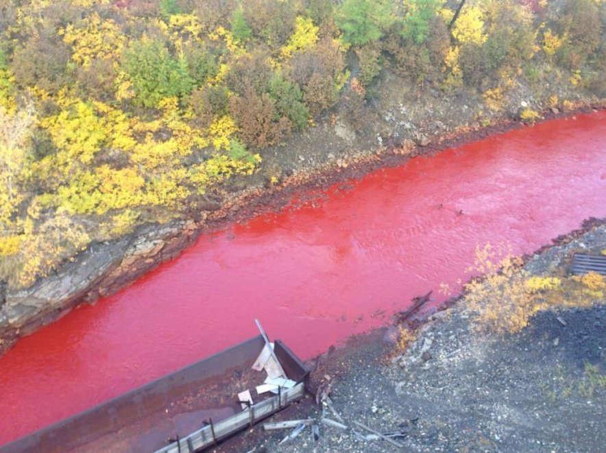 Siberia, il fiume Daldykan si è tinto di rosso