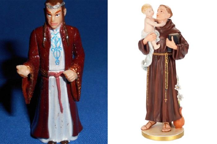 """Anziana prega statua de """"Il Signore degli Anelli"""" scambiandola per Sant'Antonio"""