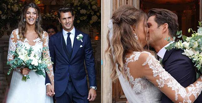 Marco Roscio e Cristina Chiabotto nel giorno del matrimonio